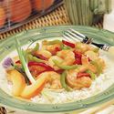 Sweet and Saucy Shrimp and Green Beans with Rice